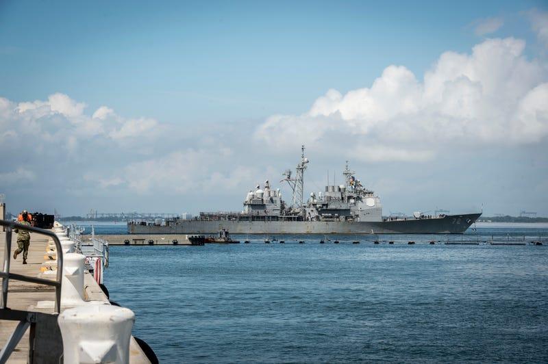 USS Vella Gulf gets underway from Norfolk.