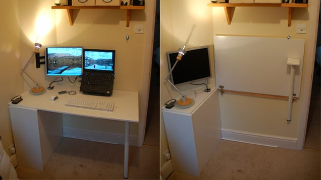 Make A Foldable Space Saving Desk Out Of Kitchen Cabinet