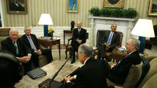 President Barack Obama (fourth from left) meets at the White House with Senate leaders and leaders of the Senate Judiciary Committee to discuss the vacancy on the U.S. Supreme Court March 1, 2016. Seated with the president (from left) are Senate Judiciary ranking member Patrick Leahy (D-Vt.), Senate Minority Leader Harry Reid (D-Nev.), Vice President Joe Biden, Senate Majority Leader Mitch McConnell (R-Ky.) and Senate Judiciary Committee Chairman Chuck Grassley (R-Iowa).Mark Wilson/Getty Images