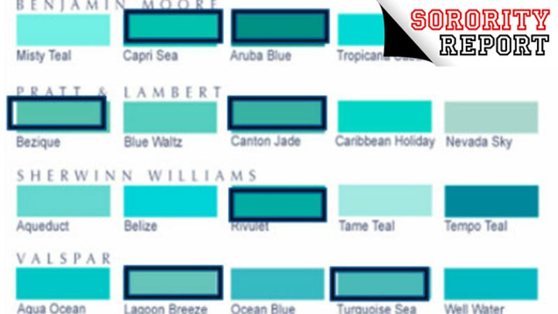 Sorority report 4 sister approved shades of turquoise for Lrv paint color chart