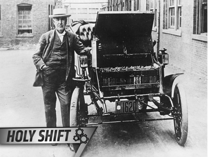 American Inventor And Physicist Thomas Edison 1847 1931 With His First Electric Car