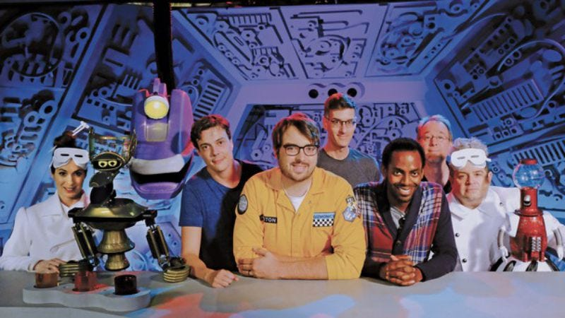 Joel Hodgson (second from right) with the cast of Mystery Science Theater 3000 (Photo: Shout! Factory)