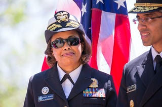 Rear Adm. Sylvia Trent-Adams and then-U.S. Surgeon General Vice Adm. Vivek H. Murthy on April 24, 2016 (Cheriss May/NurPhoto via Getty Images)