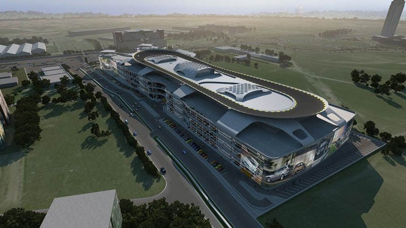 World S Largest Car Dealership Has Rooftop Racetrack