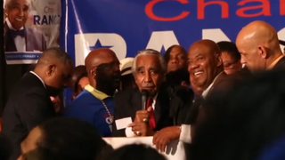Rep. Charles Rangel (center) celebrates victory over state Sen. Adriano Espaillat for New York's 13th Congressional District on June 25, 2014.CBS News screenshot