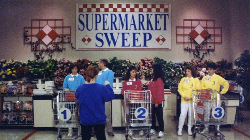 Illustration for article titled Fake meat, confiscated sweatshirts, and other sordid secrets from Supermarket Sweep
