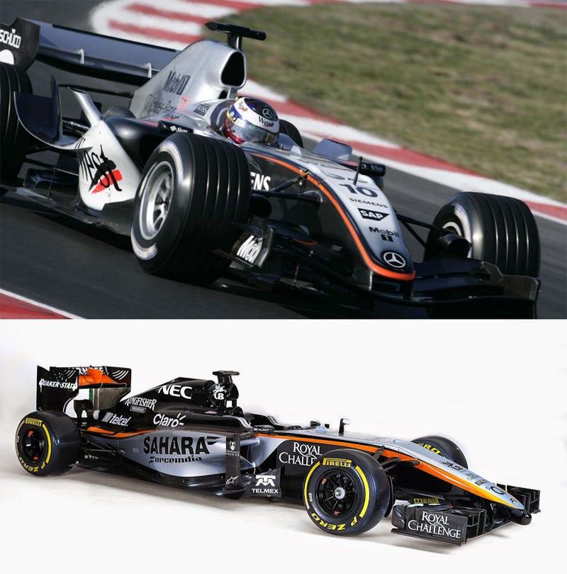 Illustration for article titled Hmm - 2005 McLaren vs 2015 Force India Liveries