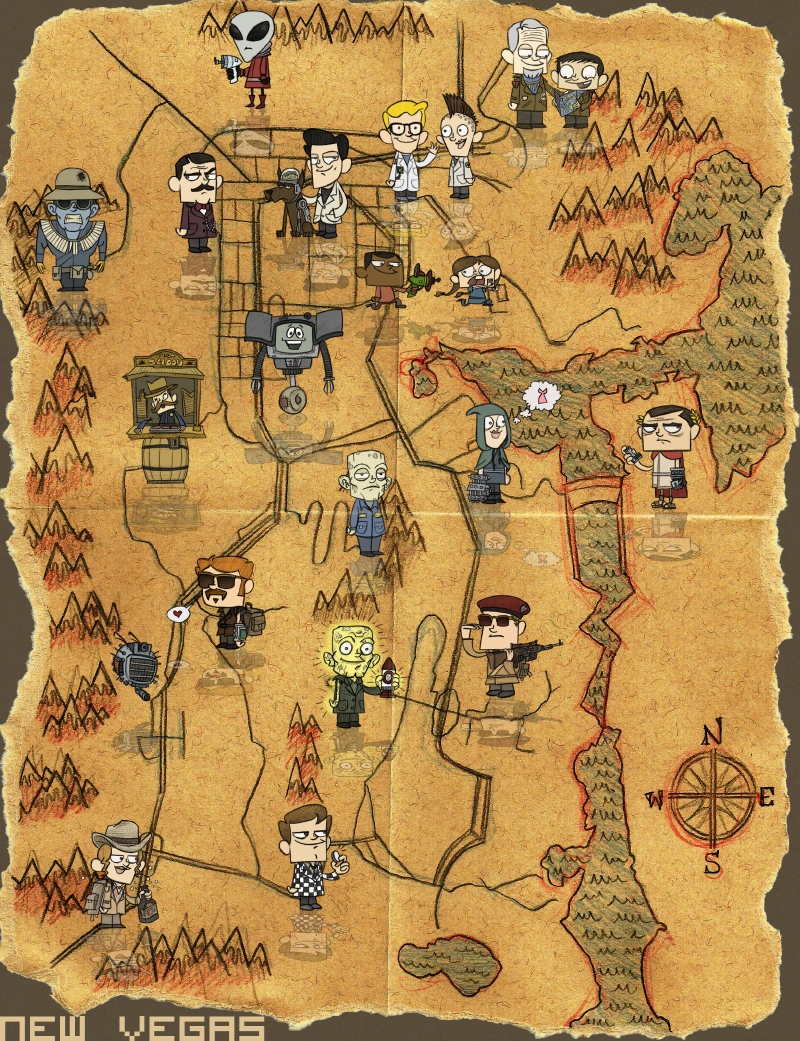 Pleasing Fallout New Vegas Map Is Not To Scale But Fit For A Poster Short Hairstyles For Black Women Fulllsitofus