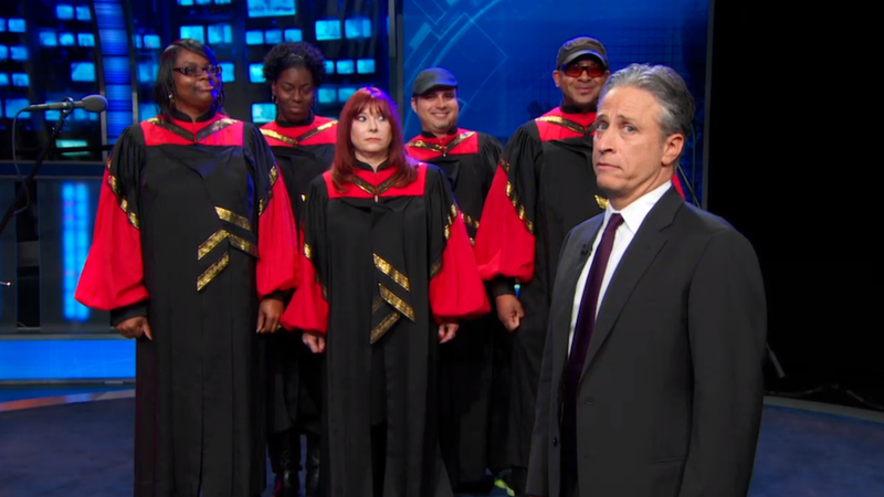 Illustration for article titled Jon Stewart's Latest 'Fuck You' Is So Big It Needs a Gospel Choir