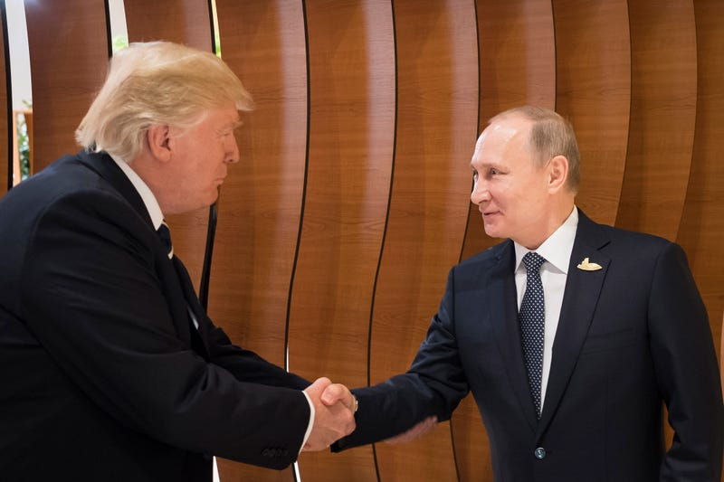 President Donald Trump meets Vladimir Putin, president of Russia, at the opening of the G-20 summit on July 7, 2017, in Hamburg, Germany. (Steffen Kugler /BPA via Getty Images)
