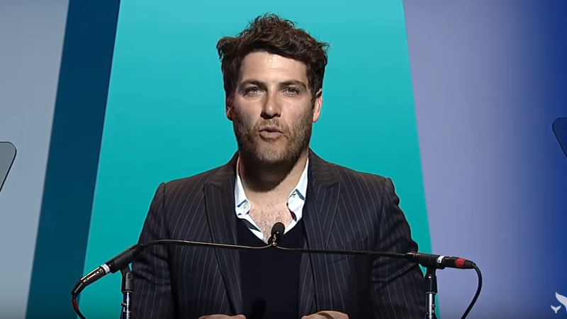 Adam Pally didn't even try to hide his despair on stage at the Shorty Awards