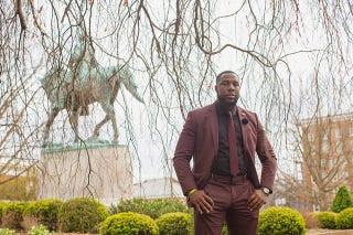 Wes Bellamy and the infamous statue of Robert E. Lee (courtesy of Wes Bellamy)