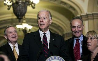 Joe Biden, second from left(T.J. Kirkpatrick/Getty Images)
