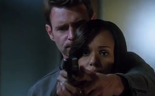 Jake and Olivia imagining Papa Pope in the line of fireABC screenshot