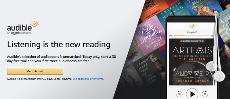 Three Free Audiobooks with Audible Trial | Amazon | New Audible members only