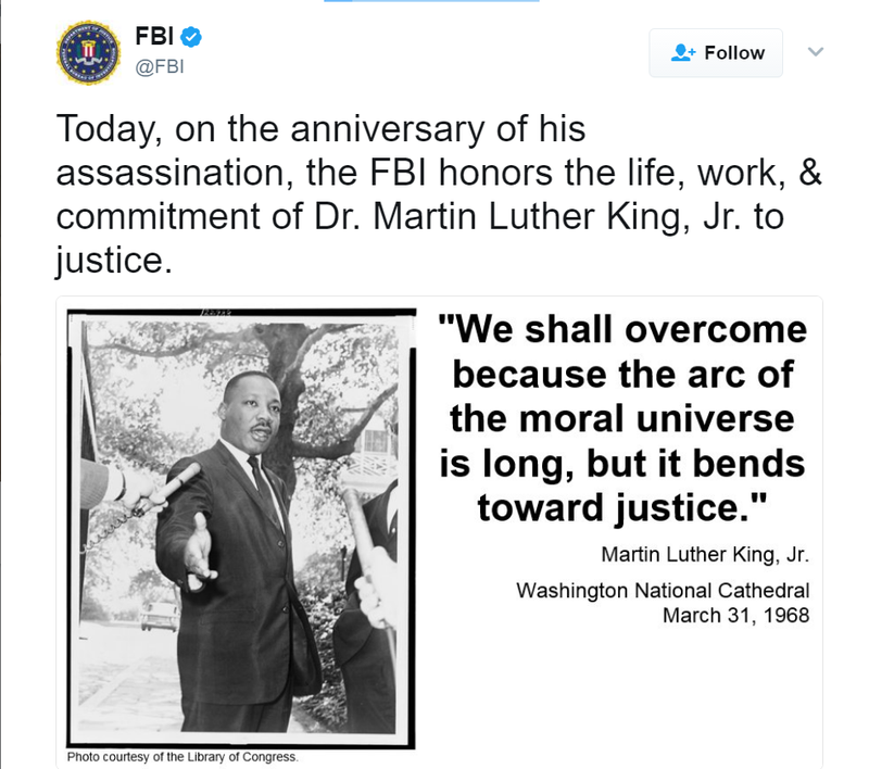 Fbi Conspired Against Mlk Tries To Honor Him On Twitter 49 Years