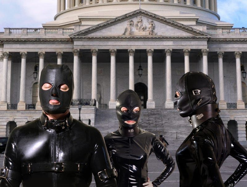 Illustration for article titled Dozens Of Black-Rubber-Clad Masochists Line Up Outside Capitol For Paul Ryan's Job