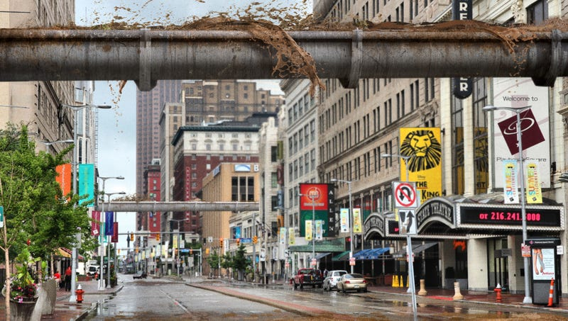 The new elevated sewer system will provide Cleveland residents with nearly 50 acres of public brown space.