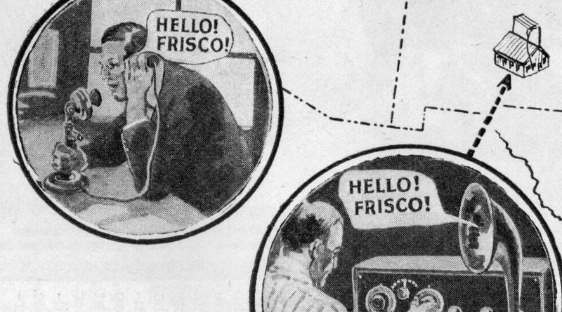 Illustration for article titled Hello Frisco! A 1924 Map of The First Coast-to-Coast Radio Broadcast