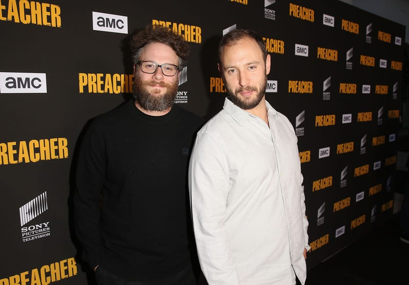 Seth Rogen and Evan Goldberg attend the premiere of AMC's 'Preacher' Season 3 on June 14, 2018, in Los Angeles.