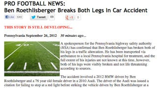 Illustration for article titled Hoax Website Fools Reporters Into Thinking Ben Roethlisberger Broke His Legs In A Car Accident