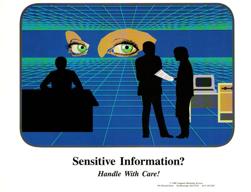 Illustration for article titled 80's Sysadmin Warning Posters Look Like Dystopian Parodies