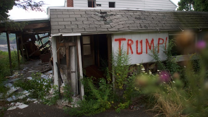 An abandoned house is spray painted 'Trump!' on August 14, 2016 in Schuylkill County, Pennsylvania. This Northeastern Pennsylvania region has a rich coal mining history, but the majority of nearby coal mines have closed.