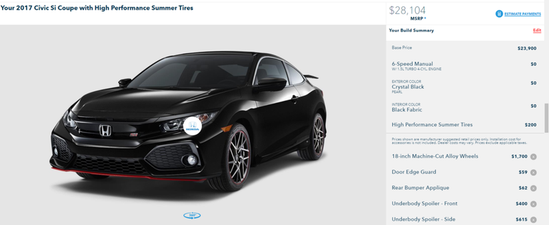 Illustration for article titled The Honda Civic Si configurator is up!