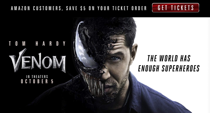 $5 Off Venom Movie Tickets | Amazon