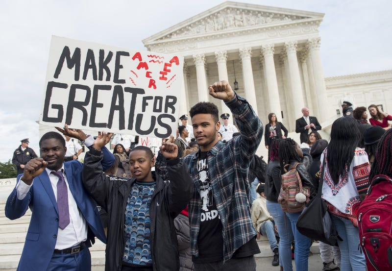 Students protest the election of President-elect Donald Trump during a march Nov. 15, 2016, outside the U.S. Supreme Court in Washington, D.C. SAUL LOEB/AFP/Getty Images