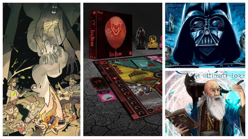 Clockwise from left: Sleepaway, It: Evil Below, Star Wars: Dark Side Rising, and Trismegistus: The Ultimate Formula.