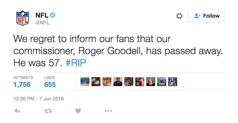 Illustration for article titled NFL Twitter Hacked, Announces Roger Goodell's Death [Update]