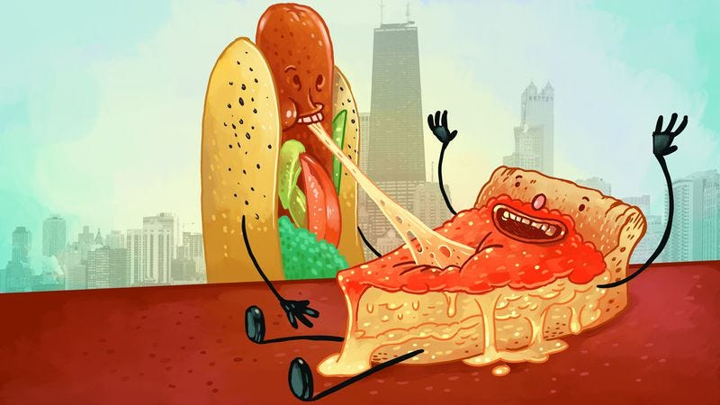 Chicago Hot Dog loves Chicago Pizza, but it's so filling, they can only eat one slice / Illustration: Nick Wanserski