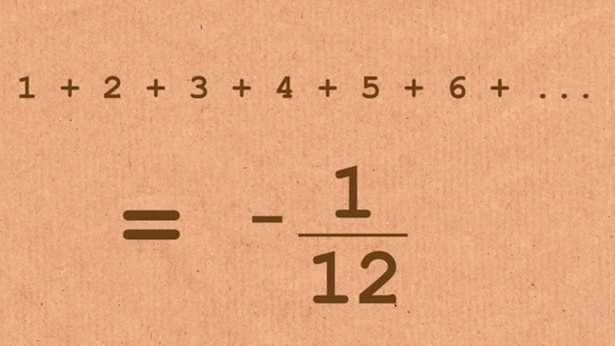 The sum of 1 + 2 + 3 + 4 + 5 +     until infinity is somehow -1/12