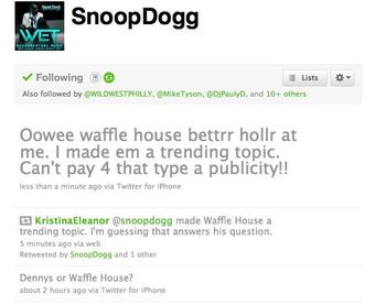 Illustration for article titled It Was Only A Matter Of Time Before Snoop Dogg And Waffle House Found One Another