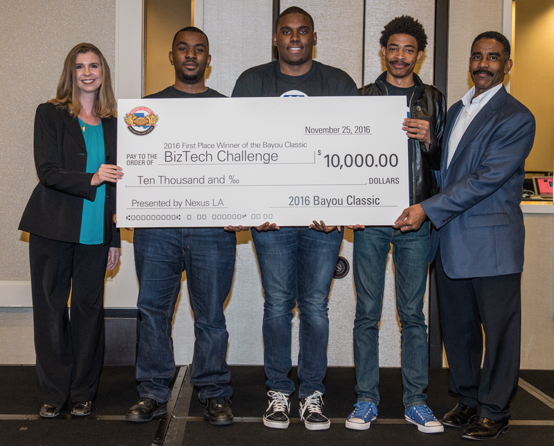 The winning team from Grambling State University pitched Relief Front, the online marketplace that sells products of other stores that are negatively impacted by natural disasters, an idea that earned them $10,000 in capital and $5,000 in free legal services for the BizTech Challenge at the Bayou Classic. Byron Clayton and Genevieve Silverman of Nexus Louisiana bookend the winning team.J.R. Thomason