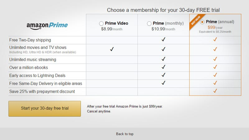 Illustration for article titled Amazon Adds Monthly Prime Subscriptions Including $8.99 For Video Only