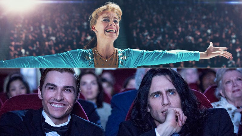 I, Tonya (Photo: Neon) and The Disaster Artist (Photo: A24). Graphic: Libby McGuire.