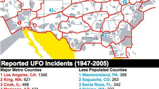 A Map Of Ufo Sighting Hot Spots In America-4177
