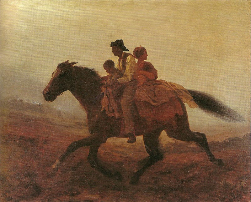 A Ride for Liberty—the Fugitive Slaves, circa 1862, by Eastman Johnson (Wikimedia Commons)