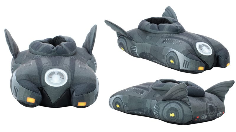 Illustration for article titled Batmobile Slippers: Because that Batcave Isn't Heated