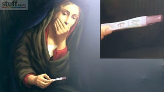 Illustration for article titled New Zealand Church Billboard Features A Panicked Virgin Mary With Pregnancy Test In Hand