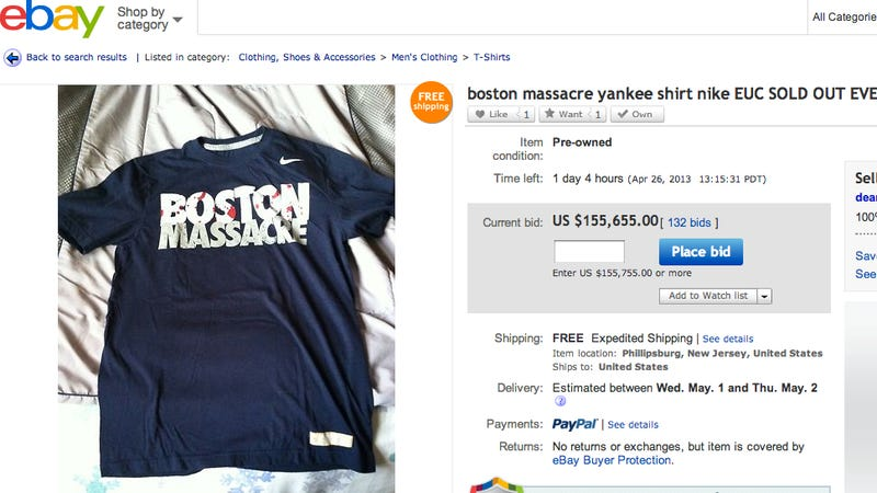 """Illustration for article titled The Nike """"Boston Massacre"""" T-Shirt Is Now Selling on Ebay for $155,000"""