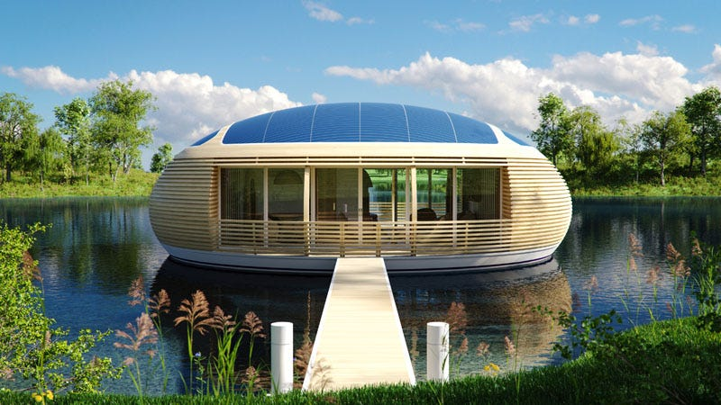 Illustration for article titled The Solar-Powered, Recycled House That Will Let Us Float in Style