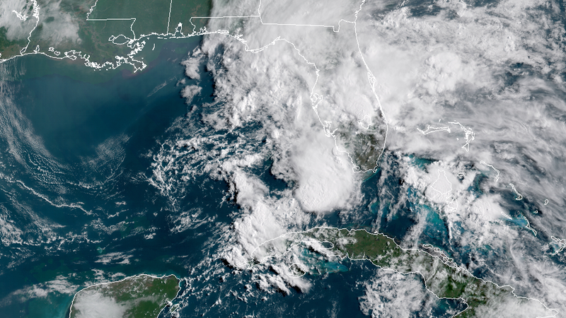 Satellite image Gulf of Mexico disturbance, captured at 10 am ET on Monday May 14.