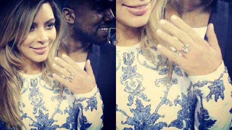 Illustration for article titled Praise Yeezus: Kanye and Kim Engaged After Intimate Stadium Proposal