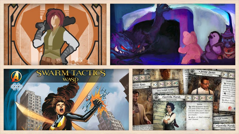 Clockwise from left: Galactic Scoundrels, Nighty Knights, Arkham Horror: The Card Game, Legendary Marvel Deck-Building Game