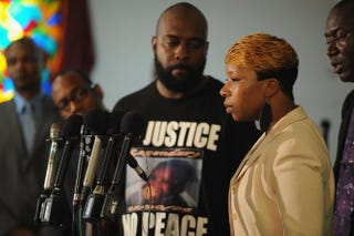 Lesley McSpadden, mother of slain 18-year-old Michael Brown, speaks during a press conference at Jennings Mason Temple Church of God in Christ Aug. 11, 2014, in Jennings, Mo.Michael B. Thomas/Getty Images