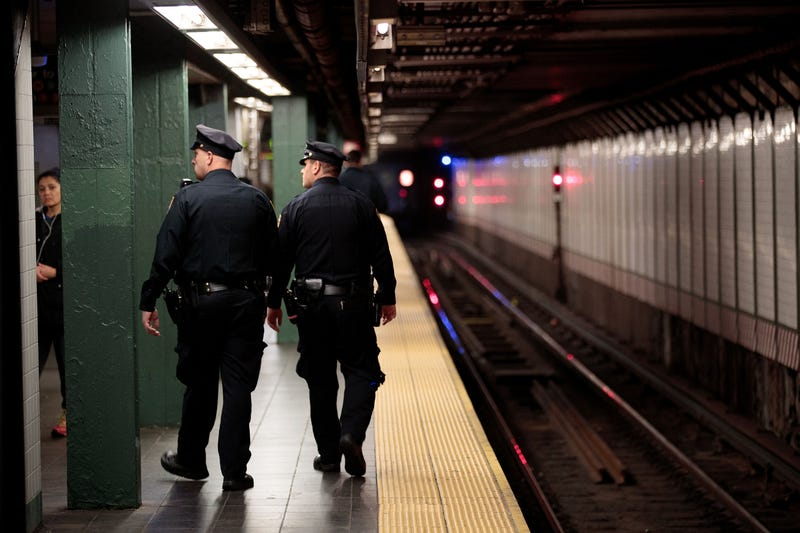 New York City police officers patrol a subway station in Times Square on Nov. 7, 2016.Drew Angerer/Getty Images
