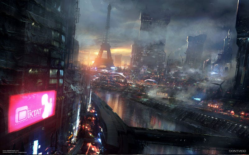 Illustration for article titled Amazing Concept Art of a Blade Runner-ified Paris